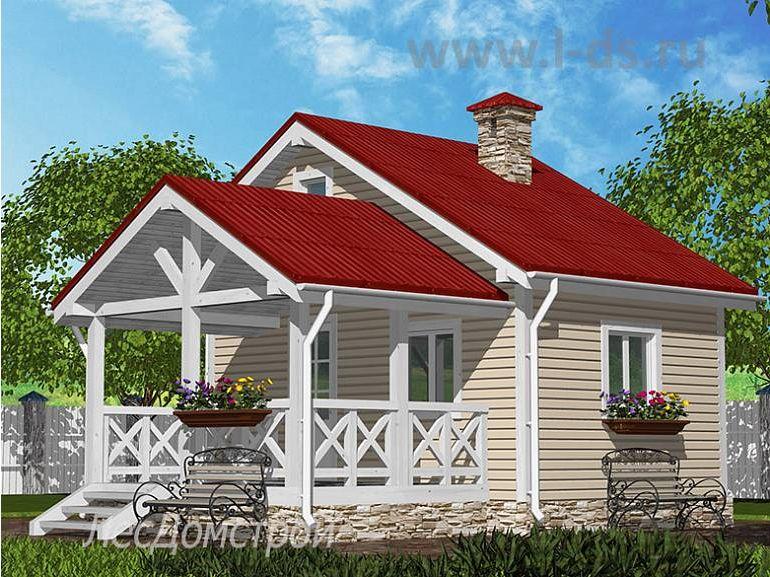Каркасный дом Июнь с верандой